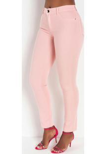 Calça Rosa Hot Pants Com Bolsos Traseiros Sawary