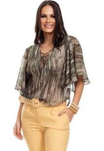 Blusa Clara Arruda Decote Cruzado Feminina - Feminino-Verde+Bege