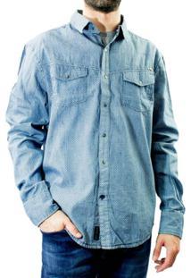 Camisa Jeans Masculina Dixie - Masculino-Azul