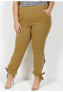 Calça Mescla Amarela Com Amarração Plus Size