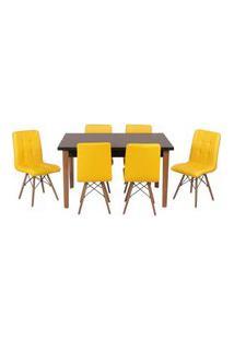 Conjunto Mesa De Jantar Luiza 135Cm Preta Com 6 Cadeiras Gomos - Amarelo