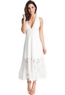 Vestido Miss Hirsch Renda Midi Feminino - Feminino-Branco