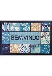 Capacho Fenice Estampado Colorful Bella Casa 60Cmx40Cm Azul