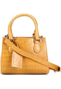 Bolsa Couro Shoestock Transversal Croco Feminina - Feminino-Amarelo