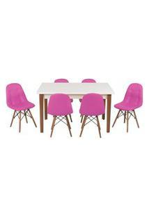 Conjunto Mesa De Jantar Luiza 135Cm Branca Com 6 Cadeiras Botonê - Rosa
