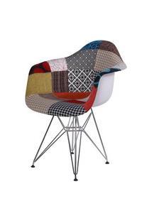 Cadeira Eames Com Braco Base Cromada Patchwork - 36399 Preto