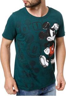Camiseta Manga Curta Masculina Disney Verde