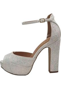 Sandália Week Shoes Salto Grosso 3D Glitter Furtacor Branco