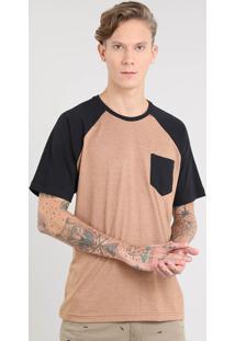 Camiseta Masculina Raglan Com Bolso Manga Curta Gola Careca Caramelo