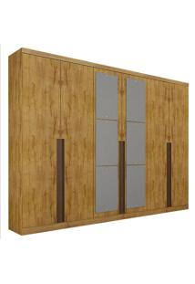 Guarda-Roupa Casal Com Espelho 6 Portas E 8 Gavetas Quebec- Novo Horizonte - Freijo Dourado