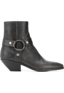 Saint Laurent Ankle Boot 'West Harness' - Marrom