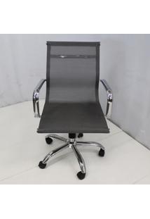 Cadeira Office Outlet Telinha Baixa Cinza Cromada - 10 - Sun House