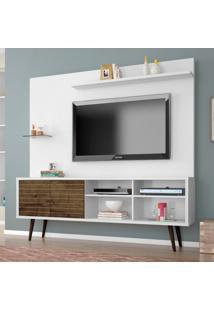 Estante Home Para Tv Até 55 Polegadas 2 Portas Retrô Turquesa Móveis Bechara Branco/Madeira Rústica