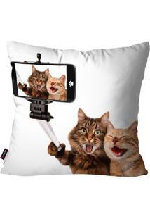 Capa De Almofada Avulsa Branco Cat Selfie 45X45Cm - Branco - Dafiti