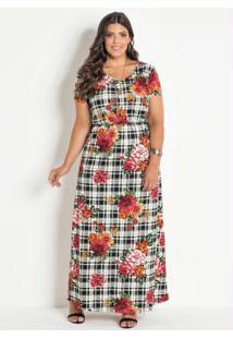 6ec57b84d77da9 Vestido Longo Com Fenda Plus Size Xadrez Floral