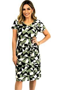 Vestido Pau A Pique Estampado Manga Curta Verde - Kanui