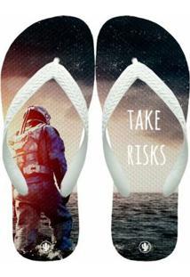 Chinelo Live Take Risks - Masculino-Preto+Branco