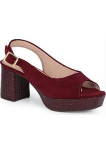 Sandália Salto Conforto Modare Vinho