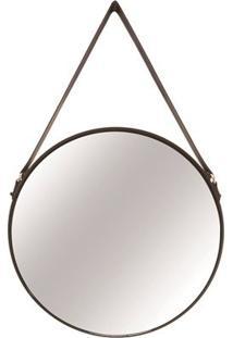 Espelho Redondo Em Metal Preto E Couro G