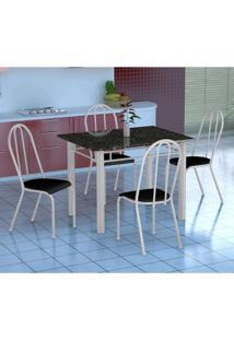 Conjunto De Mesa Genova Com 4 Cadeiras Alicante Branco E Preto Liso
