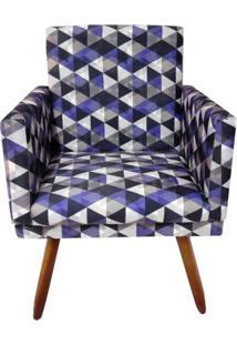 Poltrona Decorativa Nina Suede Triângulo Roxo - Ds Móveis - Kanui