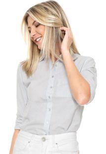 Camisa Hering Reta Listra Branca/Azul