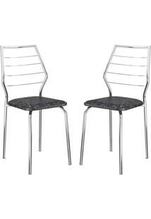 Cadeira 1716 2 Peças Fantasia Preto/Cromado - Carraro