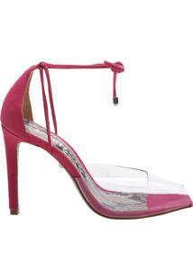 Sandália Salto Vinil Python Pink   Schutz