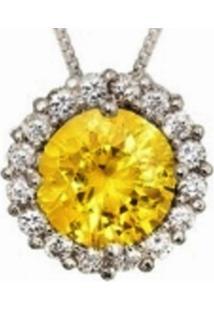 Colar Le Diamond Zircônias Amarelo Topázio - Tricae