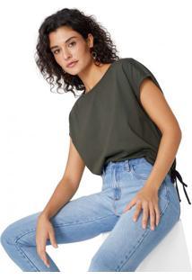 Amaro Feminino T-Shirt Amarração Barra, Verde