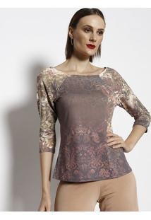 Blusa Floral - Marrom & Begecotton Colors Extra