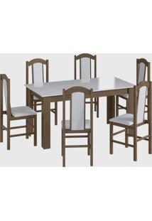 Conjunto Mesa Fixa 6 Cadeiras Ameixa Negra Móveis Cançáo - Tricae