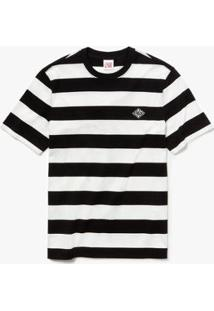 Camiseta Lacoste Live Com Decote Careca Listrada Masculina - Masculino-Branco+Preto