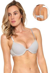 Sutiã Indecense Push-Up Lurex Branco/Prata