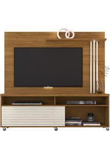 Rack Bancada E Painel Para Tv Até 65 Pol. Frizz Naturale/Off White - M