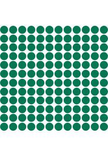 Adesivo De Parede Bolinhas Verde Escuro 144Un - Tricae