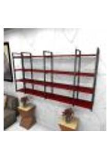 Estante Estilo Industrial Sala Aço Cor Preto 180X30X98Cm Cxlxa Cor Mdf Vermelho Modelo Ind57Vrsl