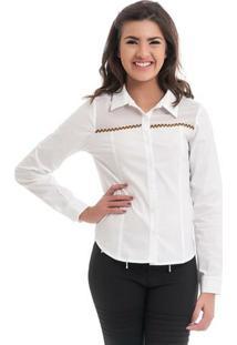 Camisa Com Detalhe De Chiffon - Feminino-Branco