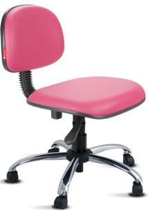 Cadeira Secretária Giratória Cromada Courvin Rosa
