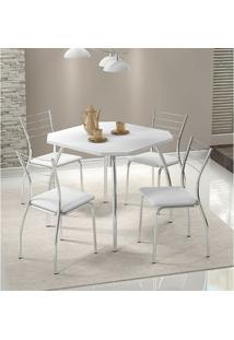Mesa 1504 Branca Cromada Com 4 Cadeiras 1700 Branca Carraro
