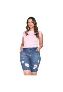 Bermudão Jeans Bolso-Faca Retrato Falado Azul