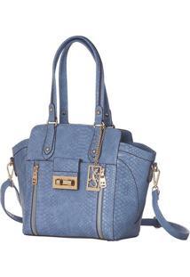 Bolsa Transversal Croco Com Recortes - Azul - 27X24,Fellipe Krein