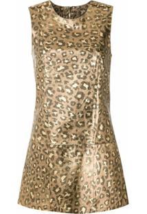 Andrea Bogosian Vestido Curto Onça Metalizado - Dourado