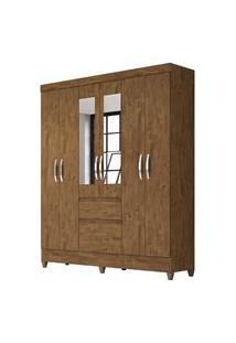 Guarda Roupa Casal Cuba 6 Portas E Espelho Castanho Wood - Moval