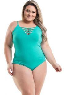 Body Viscolycra Com Transpasse De Tiras No Decote Miss Masy Plus Size Feminino - Feminino-Verde
