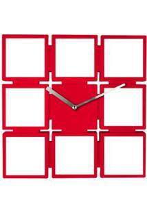 Relógio De Parede Para Fotos Vermelho Coisas E Coisinhas