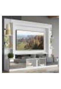 """Rack Estante Com Painel Tv 65"""" E Espelho Oslo Multimóveis Branco/Preto"""