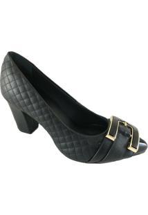 Scarpin Sapatoweb Confort Matelassê Feminino - Feminino-Preto