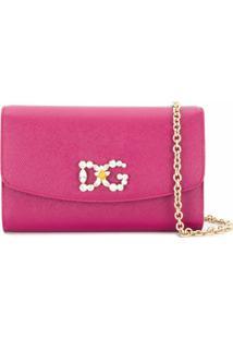 Dolce & Gabbana Clutch Com Aplicação De Cristais No Logo - Rosa