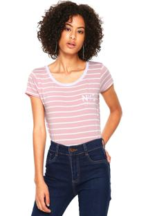 Camiseta Fiveblu Bordada Rosa/Branca